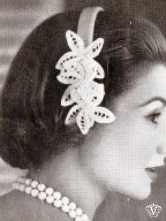1950s flower alice band crochet pattern