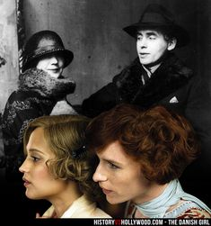 Gerda Wegener and transgender artist Einar Wegener, who became Lili Elbe. Alicia Vikander and Eddie Redmayne in The Danish Girl movie. See more pics at http://www.historyvshollywood.com/reelfaces/danish-girl/