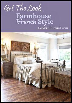 Beautiful farmhouse French master bedroom retreat. #frenchdecor