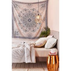 Emilia Medallion Fringe Tapestry (3,155 INR) ❤ liked on Polyvore featuring home, home decor, wall art, beach wall art, beach scene wall art, urban outfitters wall art, tapestry wall art and beach home accessories