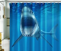 Shower curtain shark ocean sea underwater jaws water by pulaton 89
