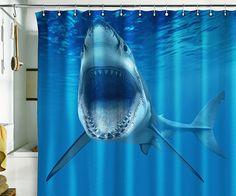 Shower curtain shark ocean sea underwater jaws water by pulaton 89