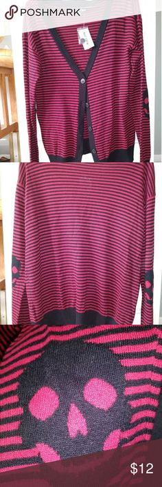 NWT Hot topic red and black striped sweater New with tags with skulls on elbows Hot Topic Sweaters