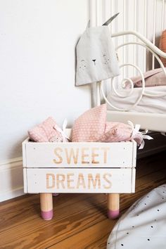 Heavenly nights with the most beautiful nursery accessories by kyddo and a super simple DIY doll bed! Lovely inspirations for the girl's nursery / bedroom including a self-made doll bed. Nursery decoration comes with. Baby Girl Nursery Decor, Nursery Wall Decor, Diy Room Decor, Nursery Accessories, Baby Room Design, Amazing Decor, Beautiful Decoration, Idee Diy, Kids Furniture