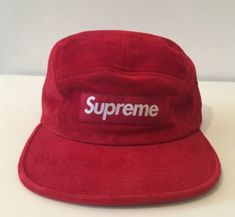 83fa24f6b32 FOR SALE  RARE DS SS17 Supreme red suede camp cap 5 panel hat box logo