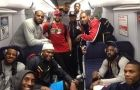 I know nothing about basketball, but I know a transit fan when I see one. Here, the U.S. Men's Basketball team rides mass transit. Love it. Oh look, isn't it that Kobe guy?