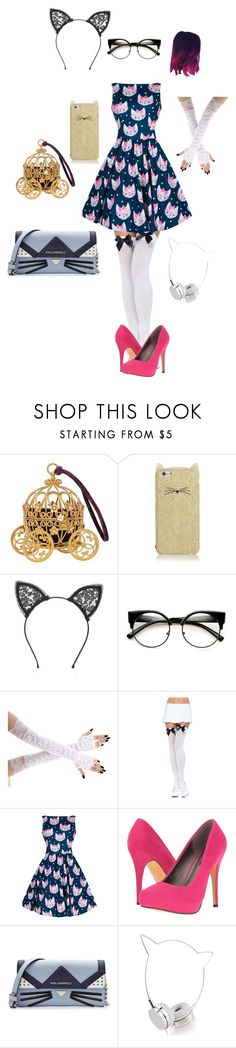 """my middle school prom outfit"" by lixxy92 ❤ liked on Polyvore featuring Kate Spade, Fleur du Mal, Leg Avenue, Michael Antonio, Karl Lagerfeld and Skinnydip"