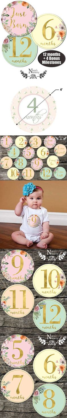 Newborn Baby Girl Gold Floral Monthly Stickers - Great Shower Registry Gift or Scrapbook Photo Keepsake