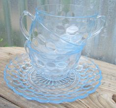 Vintage Blue Glass Tea Cups and Plate, Blue Bubble Pattern Vintage Cup Set with Plate