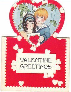 Vintage Valentine Card Boy & Girl Stand-Up Die-Cut for Children Kids My Funny Valentine, Valentine Music, Valentine Images, Valentines Greetings, Vintage Valentine Cards, Valentines For Boys, Vintage Greeting Cards, Valentine Day Cards, Vintage Postcards