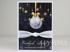 Kartki bożonarodzeniowe biznesowe wykonane ręcnzie z granatowym tłem. Design, Style, Swag