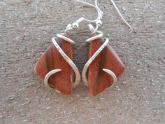 Goldstone Silver Wrapped Earrings by TheSilverMaster on Etsy