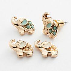 LC Lauren Conrad Gold Tone Elephant Stud Earring Set