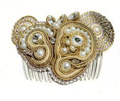 Bridal soutache hairpiecebridal hair by MartaRzanekJewelry on Etsy, zł329.00