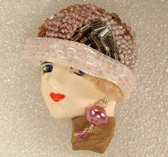 LADY HEAD Woman FACE Porcelain-Look Resin Brooch Woman Face, Lady Face, Beading Projects, Head Pins, Bead Art, Brooch Pin, Resin, Crochet Hats, Porcelain