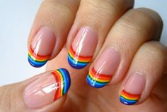 unhas arco iris nail art