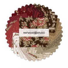 "Ruby Charm Pack, CP-MASRUB, Floral Charm Pack Fabric, 5"" Inch Precut Fabric Squares, Brown Burgundy Pink Floral Fabric by Jambearies on Etsy"