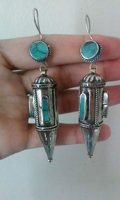 "Earring Conica Turquoise Afghan Kuchi Tribal Alpaca Sivler 3 5"" inches Long 