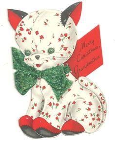Vintage Used Greeting Card Christmas Cat Kitten Glitter  Die-Cut 1949