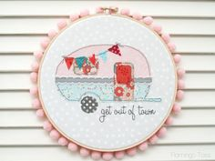 This Retro Camper Embroidery Hoop Art is so perfect for summer and easy to make! The tutorial includes a free pattern as well!
