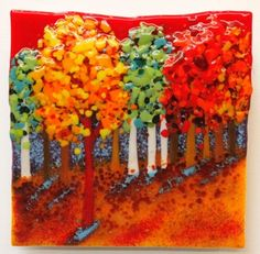 """Sunset Woods"" -fused glass 13x13 inch wall piece."