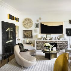 Love the gold tones in this contemporary room