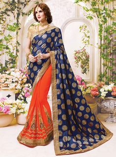Navy Blue Georgette Embroidery Work Half N Half Saree 92714
