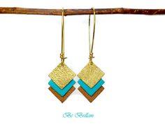 Boucles d'oreilles cuir carrés, dormeuses, doré turquoise camel : Boucles d'oreille par be-brillant
