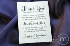 In Lieu of Favors Wedding Favor Donation Cards - Reception Info Tag Card - Custom Donation Table Cards, In Memoriam - Houston Food, Charitable Donations, Good Communication, Table Cards, Live Long, Favor Tags, Wedding Favors, Wedding Ideas, Note Cards