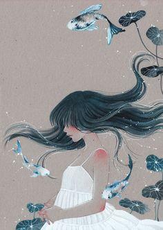Sirenes 03 by Victoria-Rivero Art And Illustration, Illustrations, Kunst Inspo, Art Inspo, Fantasy Kunst, Fantasy Art, Pretty Art, Cute Art, Art Sketches