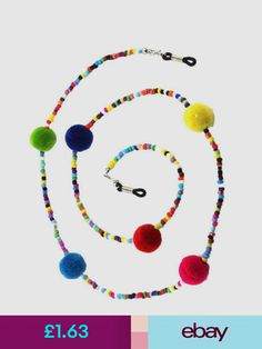 Other Vision Care Colorful Beads Eyeglass Sunglasses Holder Chain Lanyard Neck Cord Necklace Beaded Jewelry, Handmade Jewelry, Beaded Necklace, Nail Polish Flowers, Eyeglass Holder, Necklace Holder, Eyeglasses, Sunglasses Holder, Chains
