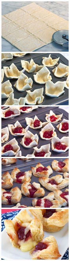 Cranberry brie bites, great Christmas Eve appetizer...maybe replace with raspberry for a sweeter version :)Delicious Christmas dinner idea! Best Christmas Appetizers, Christmas Eve Dinner, Fancy Appetizers, Appetizer Recipes, Christmas 2017, Brie Bites, Cranberry Cheese, Baking Business, Recipe R