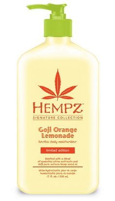 Limited Edition Hempz Signature Collection Goji Orange Lemonade Herbal Body Moisturizer is a sweet and tart blend of essential extracts that takes your skin on a summer vacation!