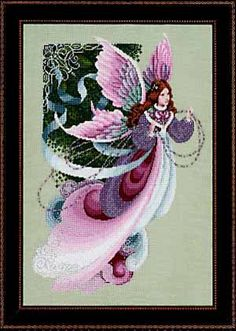 Lavender and Lace Fairy Dreams - Cross Stitch Pattern. Stitched on 28 count Dusty Green Linen with DMC floss, Kreinik #8 Braid (001-3, 007, 032-2), and Mill Hil