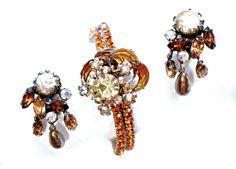 Crescent Moon Star Brooch Bracelet  Earring Jewelry SET Rhinestone Amber Topaz 2 Bracelets 1 Brooch & Pair of Clip On earrings  SET $46.00