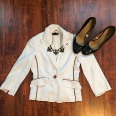 Bebe Blazer Very cute white and brown Bebe Blazer - size 2 bebe Jackets & Coats Blazers
