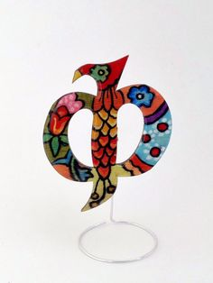 Hand painted personalized wooden brooch jewelry, crystal resin coated, pin finding, Greek Letter Φ (phi)