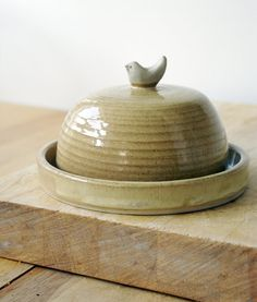 Seconds sale - Small handmade cheese dish with little Wren on top
