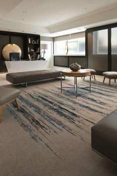 Modern interior design, carpet, blue grey cream interior