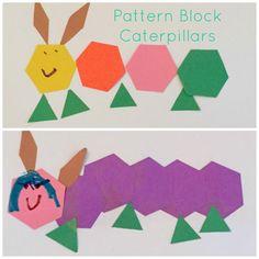 Caterpillar Activities for the Preschool Classroom - Caterpillars made with Pattern Blocks
