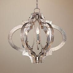 Possini Ornament Aged Silver 6-Light Chandelier