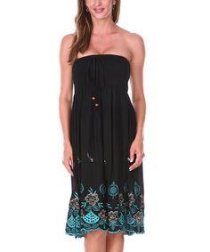 Love this Black Floral Fan Convertible Dress/Skirt on #zulily! #zulilyfinds