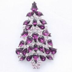 Purple Christmas Tree Brooch Pin with Swarovski Crystals