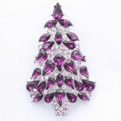 Purple Christmas Tree Brooch Pin with Swarovski Crystals