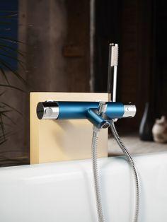 Tillsätt färg i ditt badrum med Coloric termostatblandare i färgen Moody Blue | GUSTAVSBERG Tub Faucet, Hair Dryer, Personal Care, Bathroom, Washroom, Self Care, Personal Hygiene, Full Bath, Dryer