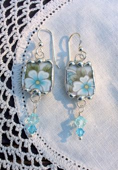 Broken China Jewelry Earrings -Blue Floral China, Sterling Silver Fish hook earrings- These earrings are made from broken china and are