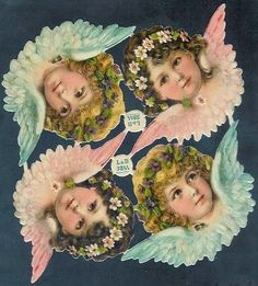 Victorian paper angel heads by L & B (Littauer & Boysen) no.3844 | EKDuncan: Antique Paper Doll Collecting