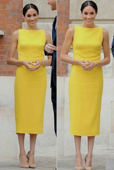 Meghan, The Duchess of Sussex is in a bright yellow Brandon Maxwell Sleeveless Boat Dress for tonight's 'Your Commonwealth' reception at Malborough House. || July 5th, 2018