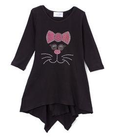 Black Kitty Long-Sleeve Tunic - Girls