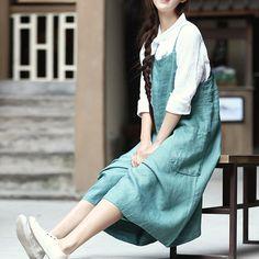 Green Cotton Linen Overalls Summer Trousers